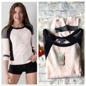 AEO Pink Cotton Colorblock Sweater